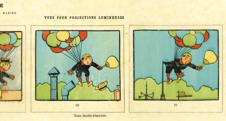 """Planche de vues récréatives extraite de la revue """"Après l'école"""" pour lanterne d'enseignement : """"Le Dirigeable"""" par Benjamin Rabier"""
