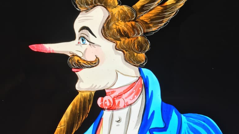 Dandy - Plaque de lanterne magique mécanisée à 3 caches noirs - vue avec le nez rouge, la barbichette, les cornes